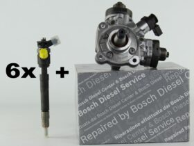 6 Remanufactured Injectors + 1 High-Pressure Pump | Bosch | 0986435214 0445010637 | Jeep Grand Cherokee 3.0 V6 CRD